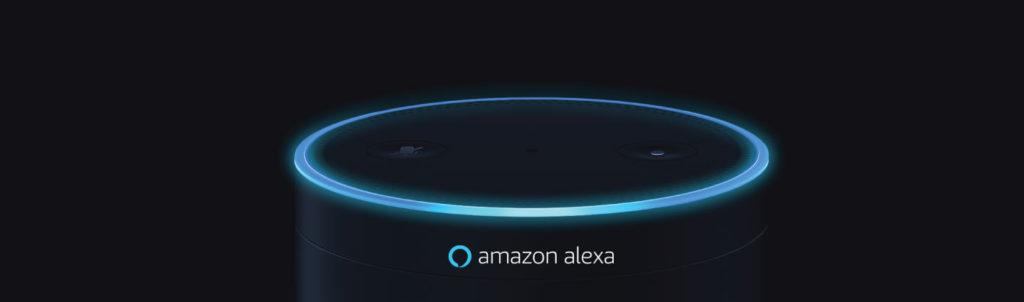 Image of Amazon Echo Dot and Amazon Alexa caption.